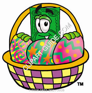 Illustration of Cartoon Dollar Character in an Easter Basket
