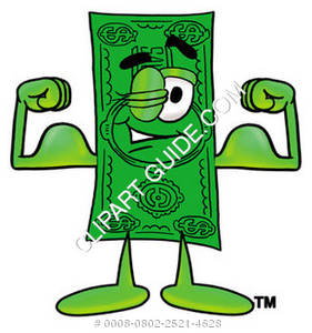 Illustration of Cartoon Dollar Character Flexing Muscles
