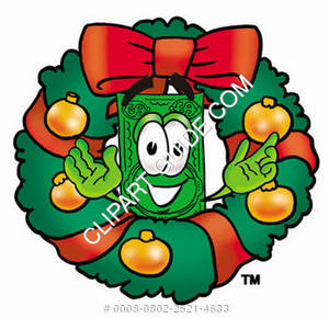 Illustration of Cartoon Dollar Character in a Wreath