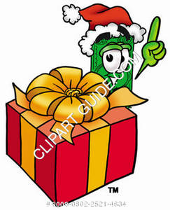 Illustration of Cartoon Dollar Character with a Christmas Present