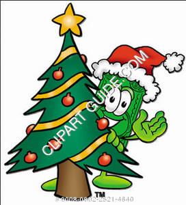 Illustration of Cartoon Dollar Character behind a Christmas Tree