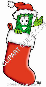 Illustration of Cartoon Dollar Character in a Stocking