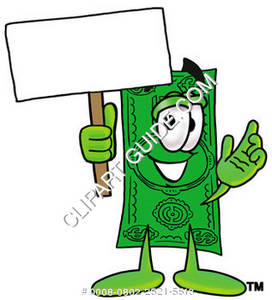 Illustration of Cartoon Dollar Character Holding a Sign