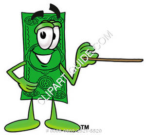 Illustration of Cartoon Dollar Character Holding a Pointer