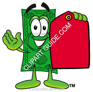 Illustration of Cartoon Dollar Character Holding a Tag