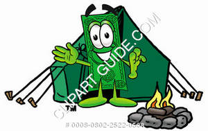 Illustration of Cartoon Dollar Character Camping