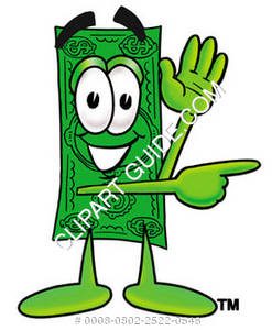 Illustration of Cartoon Dollar Character Signaling to the Right