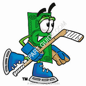 Illustration of Cartoon Dollar Character in Hockey Gear