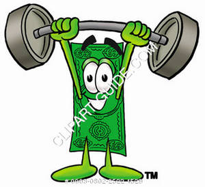 Illustration of Cartoon Dollar Character Holding Weights