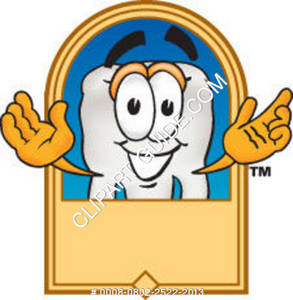 Clipart Cartoon Tooth Character Posing with Logo