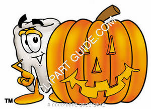 Clipart Cartoon Tooth Character with a Jack-o-Lantern