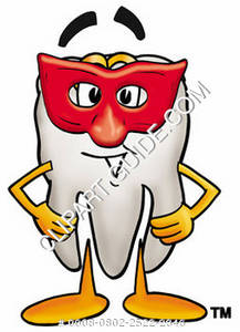 Clipart Cartoon Tooth Character Wearing a Mask