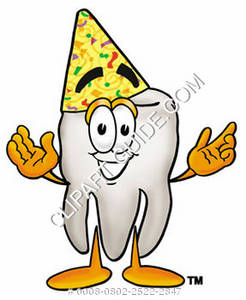 Clipart Cartoon Tooth Character Wearing a Birthday Hat