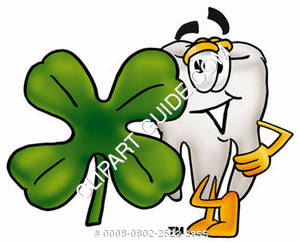 Clipart Cartoon Tooth Character Leaning on a Four Leaf Clover