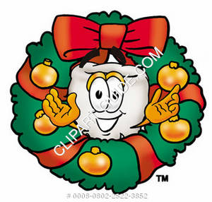 Clipart Cartoon Tooth Character in a Wreath