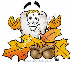 Clipart Cartoon Tooth Character with Leaves and Acorns