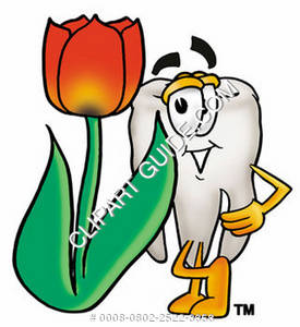 Clipart Cartoon Tooth Character Leaning on a Flower