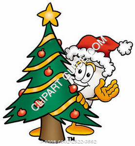 Clipart Cartoon Tooth Character behind a Christmas Tree