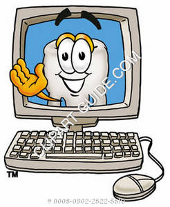 Clipart Cartoon Tooth Character on a Computer Screen