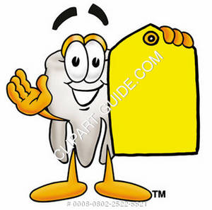 Clipart Cartoon Tooth Character Holding a Tag