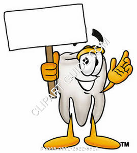 Clipart Cartoon Tooth Character Holding a Sign