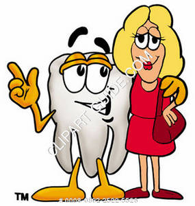 Clipart Cartoon Tooth Character with Woman