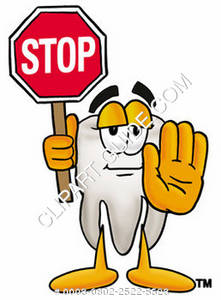 Clipart Cartoon Tooth Character Using a Stop Sign