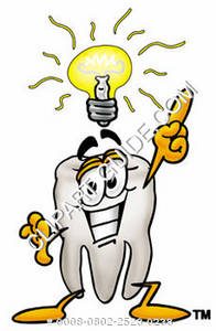Clipart Cartoon Tooth Character with a Great Idea