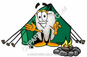 Clipart Cartoon Tooth Character Camping
