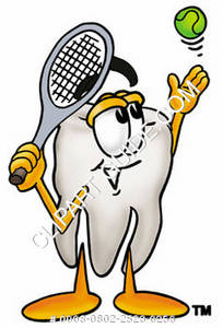 Clipart Cartoon Tooth Character Hitting a Tennis Ball