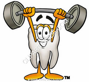 Clipart Cartoon Tooth Character Holding Weights