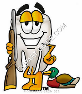 Clipart Cartoon Tooth Character with Hunting Gear