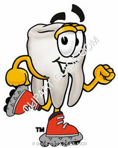Clipart Cartoon Tooth Character Roller Skating