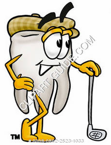 Clipart Cartoon Tooth Character Leaning on a Golf Club