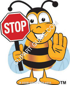 Cartoon Bee Holding Stop Sign