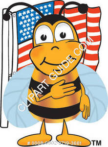 Cartoon Bee Fourth of July