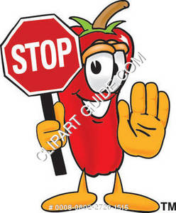 Cartoon Chili Pepper Holding Stop Sign