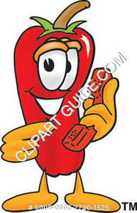 Cartoon Chili Pepper With Phone