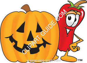 Cartoon Chili Pepper With Halloween Pumpkin