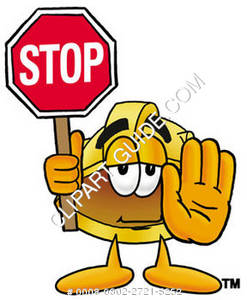 Cartoon Hard Hat Holding Stop Sign