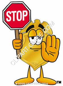 Badge Character With a Stop Sign