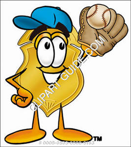 Clipart Cartoon Badge Character Catching a Baseball