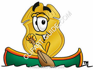Clipart Cartoon Badge Character in a Row Boat