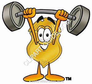 Clipart Cartoon Badge Character Holding Weights