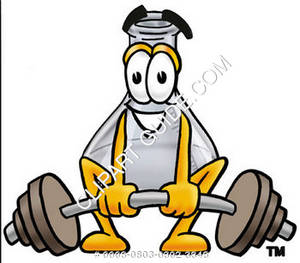 Cartoon Beaker Lifting Weights