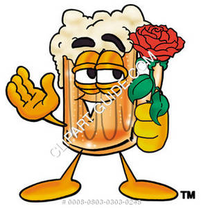 Illustration of Cartoon Beer Mug Character Holding a Rose