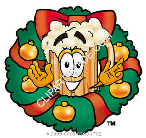 Illustration of Cartoon Beer Mug Character in a Wreath