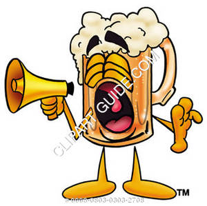 Illustration of Cartoon Beer Mug Character Yelling into a Megaphone