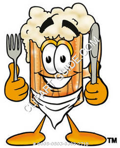 Illustration of Cartoon Beer Mug Character with a Knife and Fork