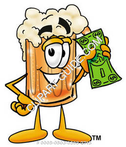 Illustration of Cartoon Beer Mug Character with Money